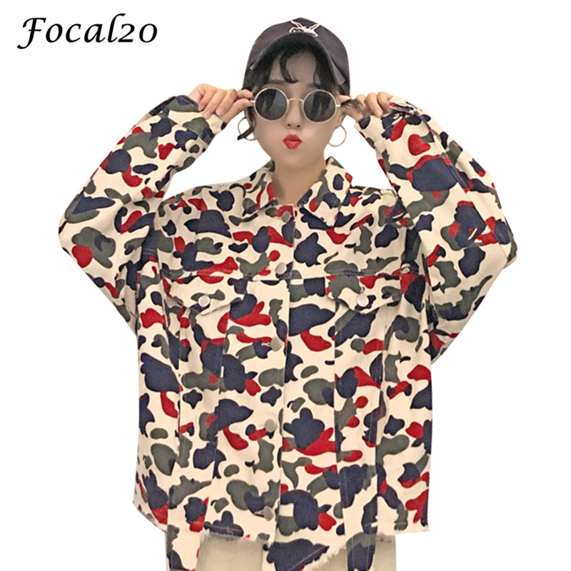 Focal20 Streetwear Camouflage Tassels Ripped Women Jacket Jeans Pockets Turn Down Collar Button Denim Jacket Coat Outwear