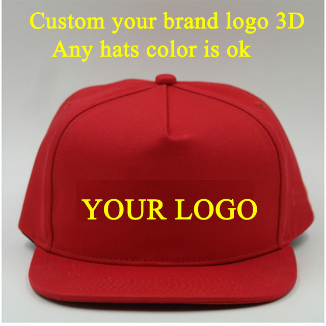 5 Caps Peak Square brim Customized Baseball Hat 3D Embroidery LOGO  Snapbacks Hats Hip Hopcap adjustable bacd500d49b5