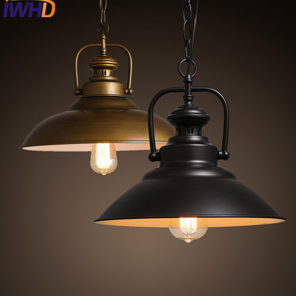 IWHD Vintage Industrial  Pendant Lamp Loft Retro Iron Black Pendant Lights Fixture Home Lighting Living Room Suspended Lamp IWHD Vintage Industrial  Pendant Lamp Loft Retro Iron Black Pendant Lights Fixture Home Lighting Living Room Suspended Lamp