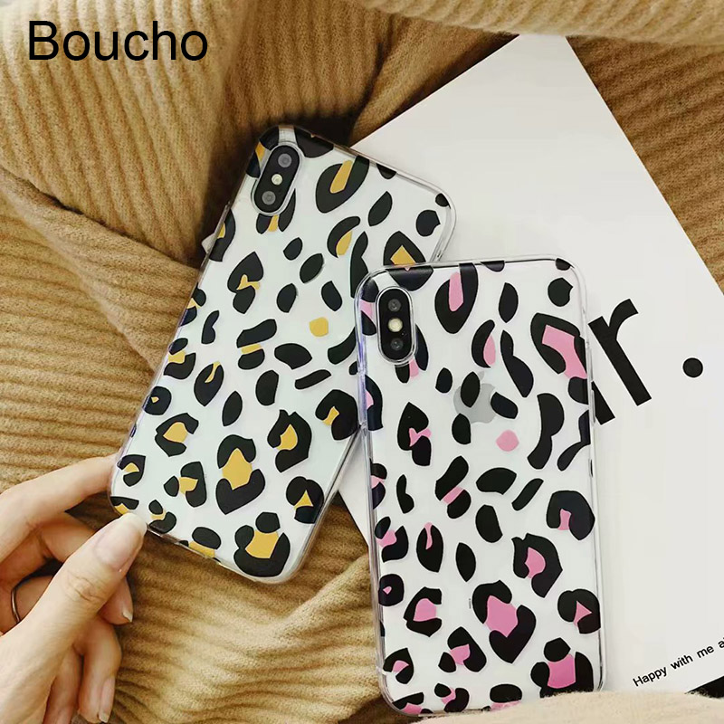 Boucho Retro Leopard Print Case For iphone XS Max Phone XR X 7 6S 6 8 Plus Cover Fashion Ultra Slim Soft Cases