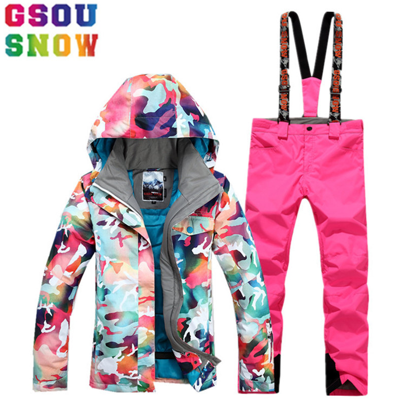 GSOU SNOW Brand Ski Suit Women Ski Jacket Snowboard Pants Winter Waterproof  Mountain Skiing Suit Female Cheap Snowboarding Coat 05b120be1