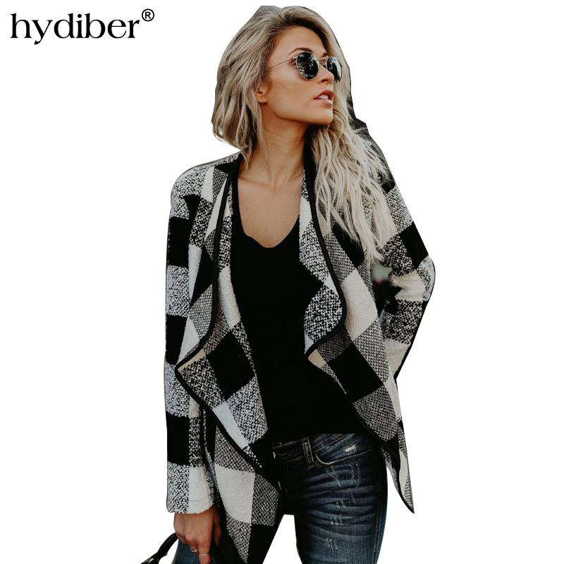Slim Womens Checked Plaid Short   Jacket   Coats Long Sleeve Lapel Collar Autumn Winter Female Coat   Basic     Jacket   2018