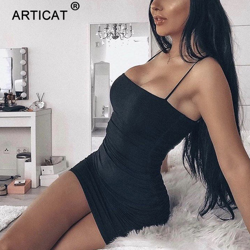 Articat Black Sexy Bodycon Summer Dress Strapless Spaghetti Strap Bandage Mini Dress Party Casual Basic Beach Dress Short #2
