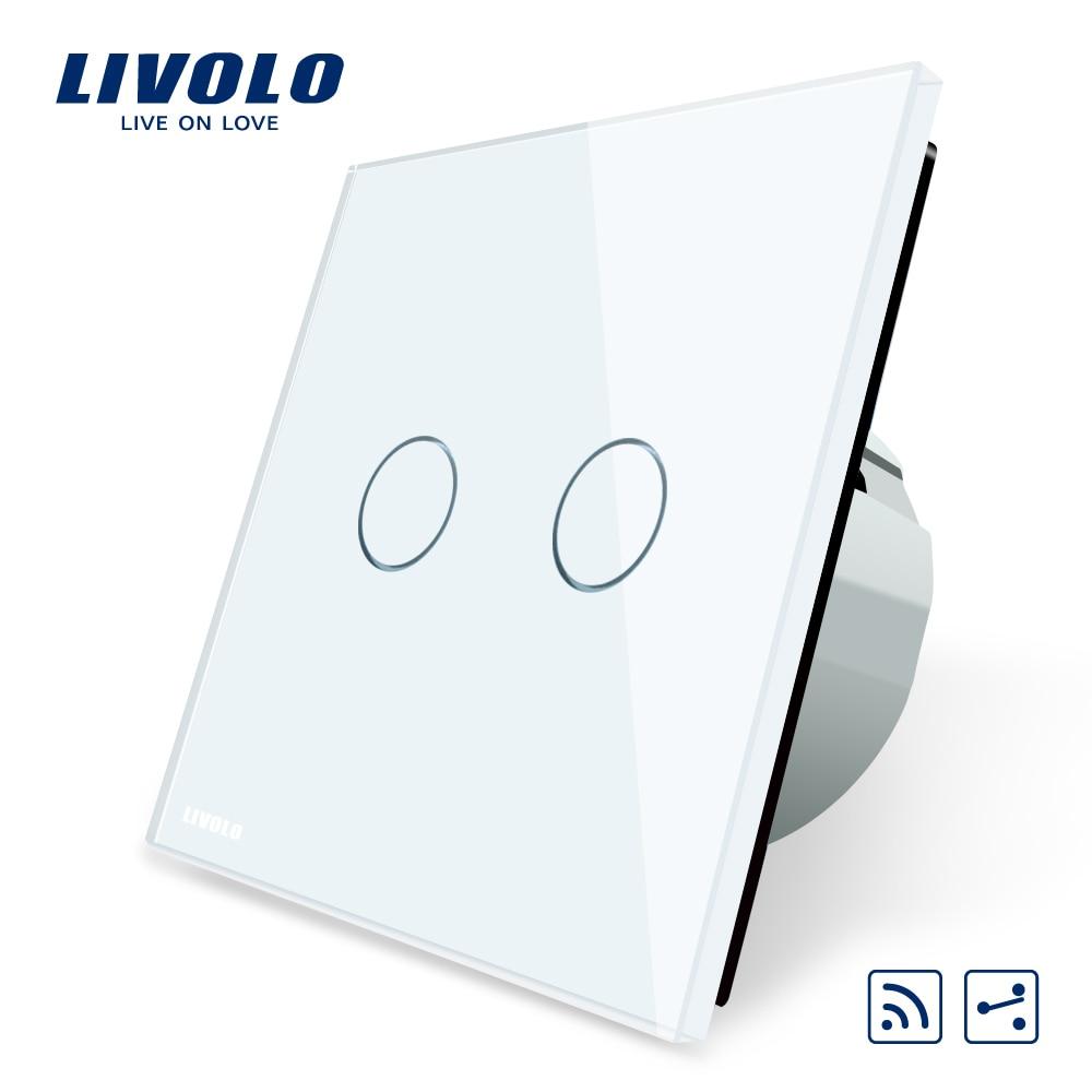 Livolo EU Standard, Touch Remote Switch, White Crystal Glass Panel, 2 Gangs 2 Way, AC 220~250V + LED Indicator, VL-C702SR-1/2/5 premium hydra b5 toner 120ml lotion 120ml set