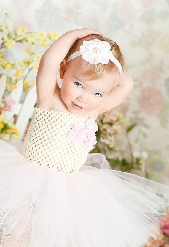 vory and Light Pink Flower Girl Birthday Tutu Dress3