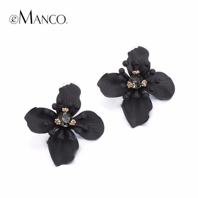 eManco stud earrings women black vintage crystal flower earring jewelry 2017 trending statement jewellery for women