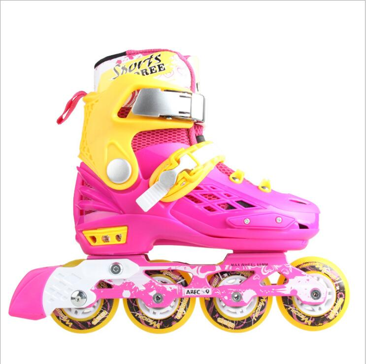 Flash Inline Skates Shoes For Kids Children Roller Skating Shoes Adjustable Single Flashing Wheel Free Skating Patines
