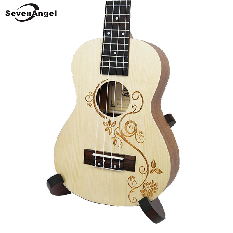 23 Ukulele Concert Acoustic Mini guitar Rosewood Fretboard 4 strings Spruce wood carvings Electric Ukelele Built in Pickup EQ tenor concert acoustic electric ukulele 23 26 inch travel guitar 4 strings guitarra wood mahogany plug in music instrument