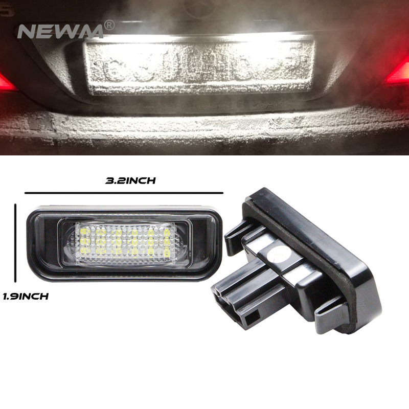 Car LED License Plate Lights For Mercedes W220 S-Class 99-05 Benz Accessories SMD3528 LED Number Plate Lamp Bulb Kit 12V atreus car led license plate lights for bmw e46 2d e46 m3 98 03 accessories 2x white smd3528 led number plate lamp bulb kit 12v