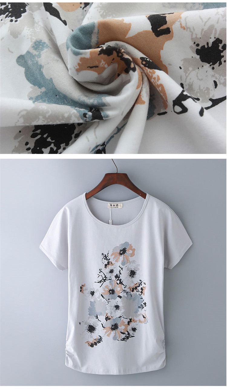 HTB17tXaNkvoK1RjSZFDq6xY3pXa9 - Summer Female T Shirt New arrive Women's printing Short-sleeve White Cotton T-shirt women Loose Batwing Sleeve O-neck T-Shirt