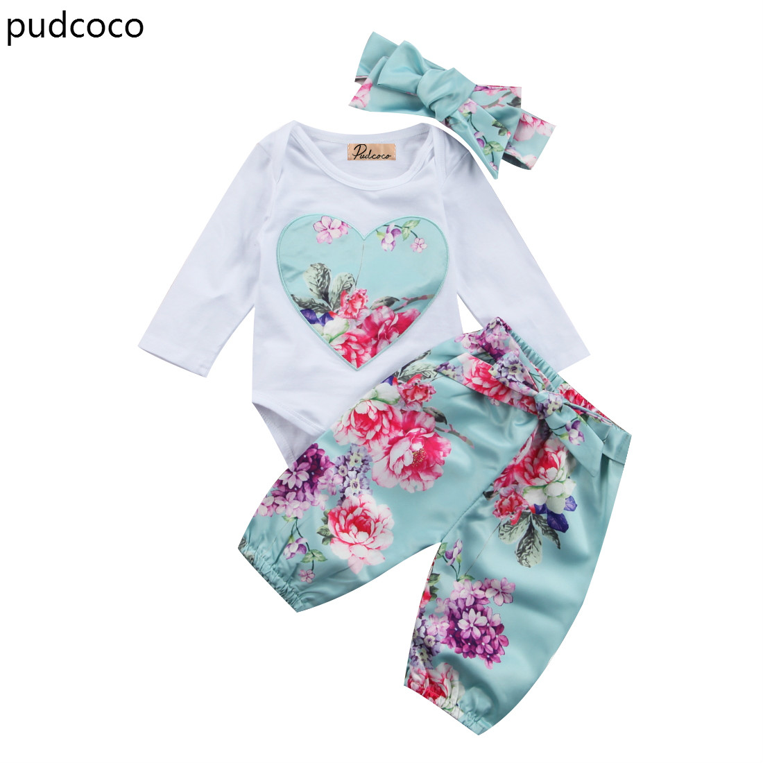 3pcs Floral Love Heart Girls Outfits Set Newborn Kids Baby Girl Long Sleeve Rompers Blue Flower Pants Headband Clothes Set 3pcs 2018 fashion baby girls clothes set long sleeve flower t shirt pants headband newborn infant baby girl toddler clothing set