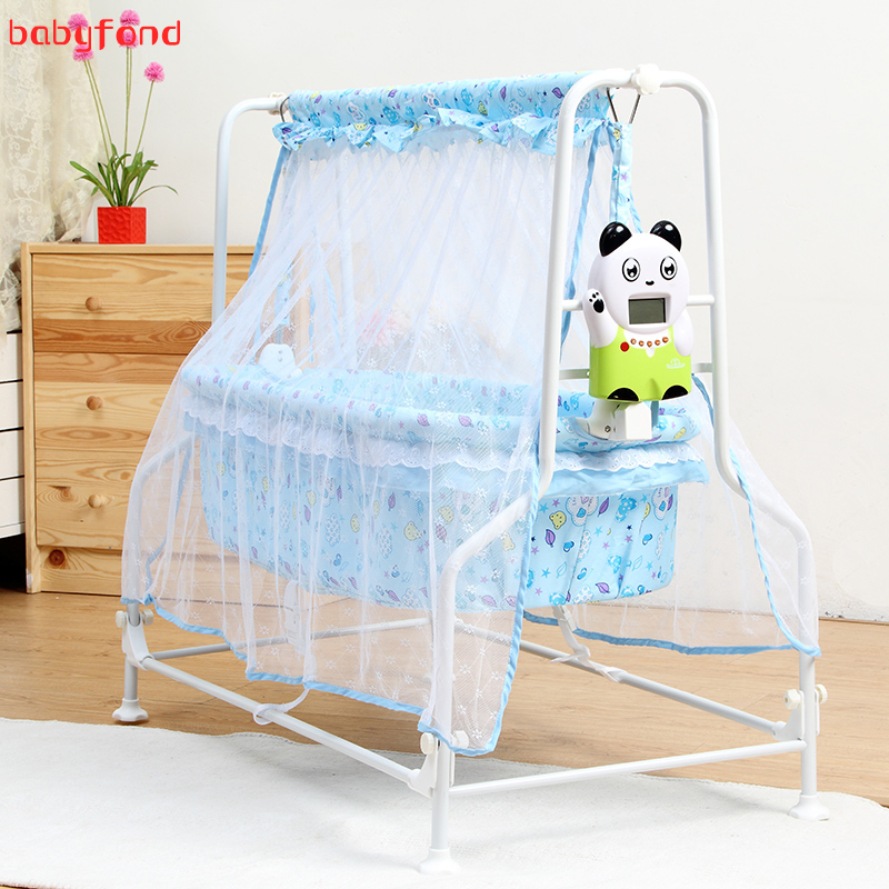 New baby electric cradle infant comfortable bed pink  blue color electric swing crib Intelligent Auto swing send mosquito net