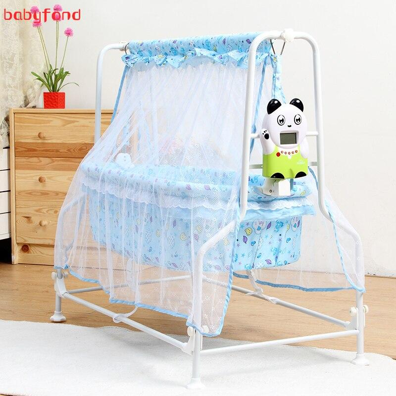 Nouveau bébé berceau électrique infantile lit confortable rose bleu couleur électrique balançoire berceau Intelligent Auto balançoire envoyer moustiquaire
