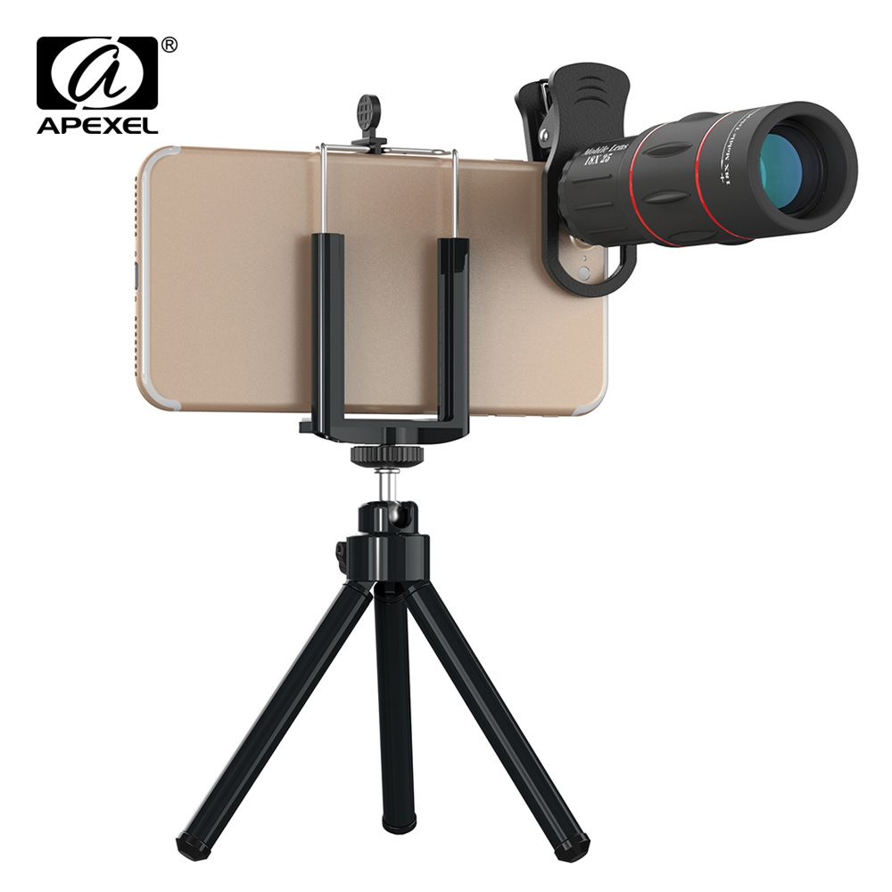 APEXEL Mobile Phone Camera Lenses Kit 18X Telescope Zoom for iPhone 6s 7 8 X Samsung Cell Phone Lens Universal Clips with tripod