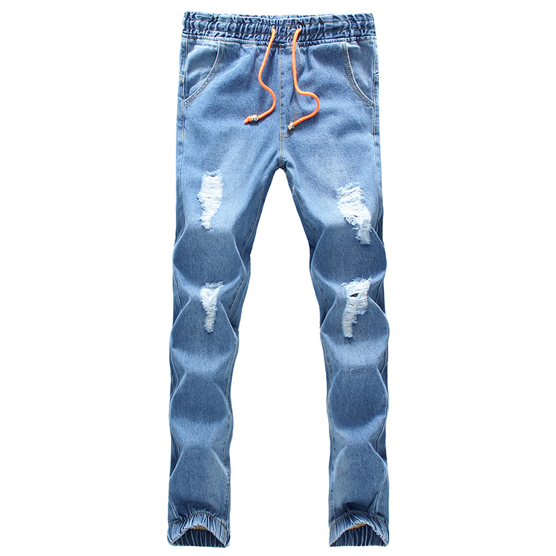 2017 spring summer hole jeans denim jogger pants ankle length pants loose trousers light blue ripped jeans drawstring S-5XL envmenst 2017 male floral bottom blue hole ankle length jeans men s jeans casual zipper straight denim trousers size 28 40