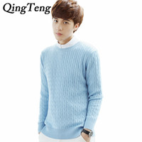 QingTeng Casual Men S Sweaters O Neck Cable Knitted Pull Sweater Business For Men Cashmere Pullover