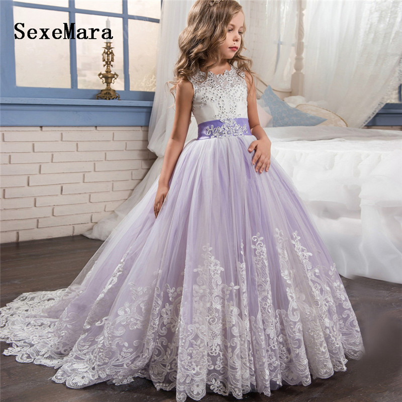 Luxury Beaded Lace Flower Girl Dress for Wedding Ball Gown O Neck Girls First Communion Dress Birthday Party Gown Any Size