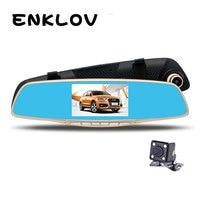 PARASOLANT 4 3 Inch Full HD Tachograph Dual Lens 1080P Car Rearview Mirror Dash Cam 170