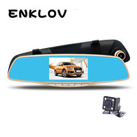PARASOLANT 4 3 Inch Full HD Tachograph Dual Lens 1080P Car Rearview Mirror Dash Cam 170