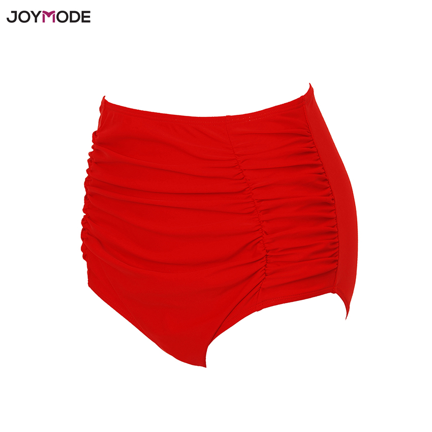 5f103f3d7100e JOYMODE Women s Bikini Shorts Mid High Waist Solid Ruched Swimsuit Ruffle  Bikini Bottoms Swim Wear Bathing Suit Briefs Red Pink-in Two-Piece  Separates from ...