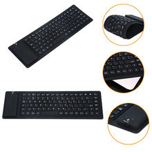 Universel Silicone pliable Mini sans fil BT3.0 Ultra-mince conception clavier retrousser noir pour iOS Android Windows Mac OS 2018(China)