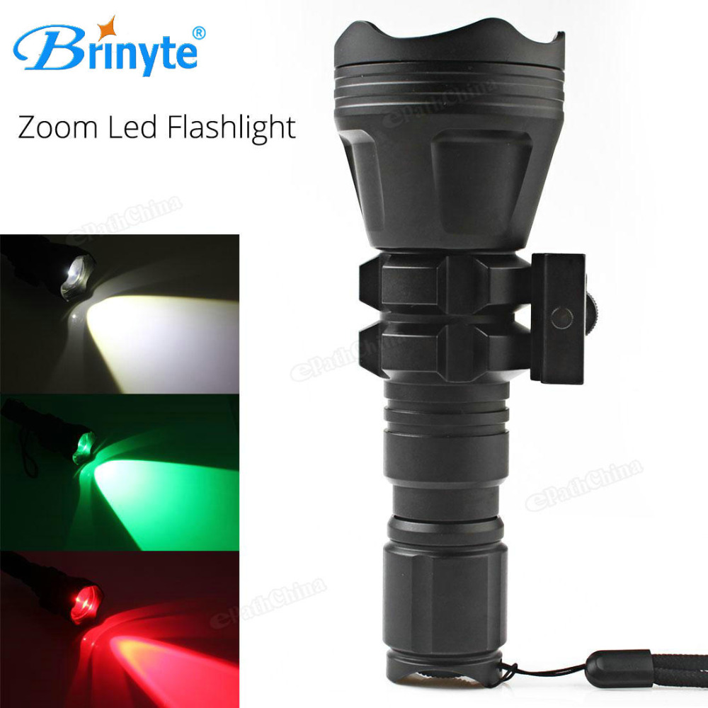 Brinyte Convex Lens XM-L2 U4 LED Tactical Flashlight Torch Zoomable Outdoor Hunting Flash Light with Red Green White 3 Bulbs led tactical flashlight 501b cree xm l2 t6 torch hunting rifle light led night light lighting 18650 battery charger box