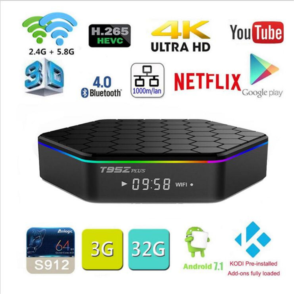 t95z plus s912 tv box android 7.1 with netflix Youtube 3GB