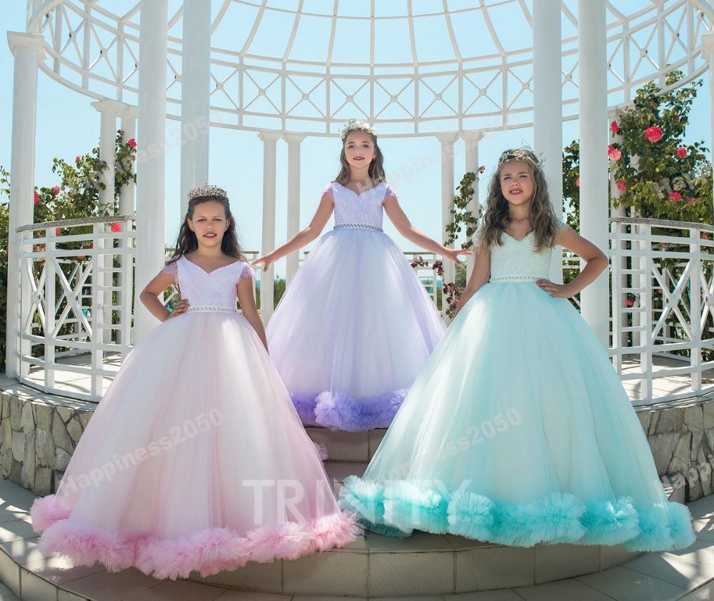 Beach Green Lilac Pink Cloud Flower Girl Dresses Girls Pageant