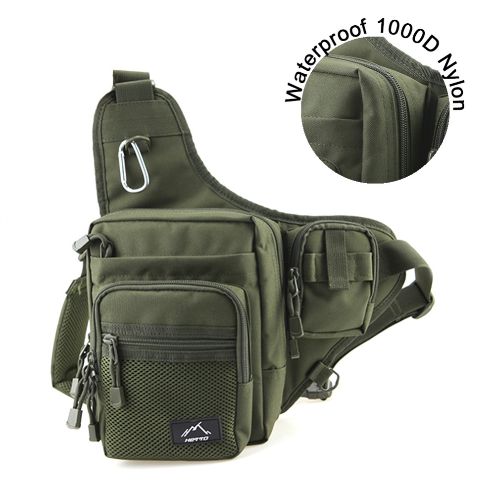 Hetto Fishing Sling Pack-Shoulder Sling Fish Bag Polyester Waterproof Lure Tackle Bag- Waist Pack Multi-Purpose Bag for Fishing trulinoya multi purpose fishing bag 24 15 cm fish lock lure box accessories box style fishing bag set fishing tackle best