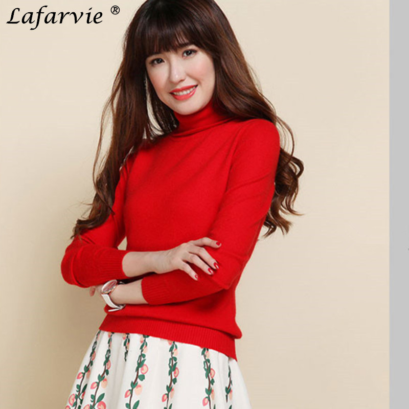 Lafarvie Slim Cashmere Blended Knitted Sweater Women Tops Quality Autumn Winter Turtleneck Full sleeve Female Pullover