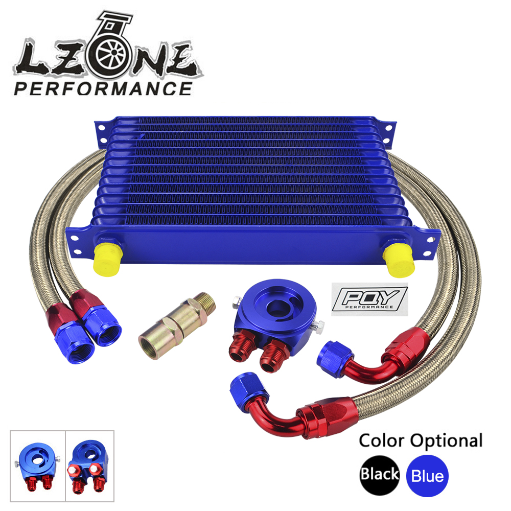 LZONE - Universal 13 ROWS Trust type OIL COOLER + AN10 Oil Sandwich + NYLON STAINLESS STEEL BRAIDED HOSE LINE W/PQY STICKER+BOX vr universal 13 rows trust type oil cooler an10 oil sandwich plate adapter with thermostat 2pcs nylon braided hose line