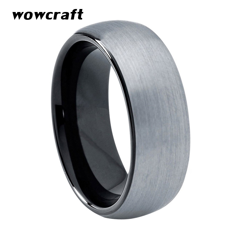 6mm Mens Womens Tungsten Carbide Wedding Band Rings Black Plated Classic Domed Edges Matte Finish Comfort Fit Personal Customize in Wedding Bands from Jewelry Accessories