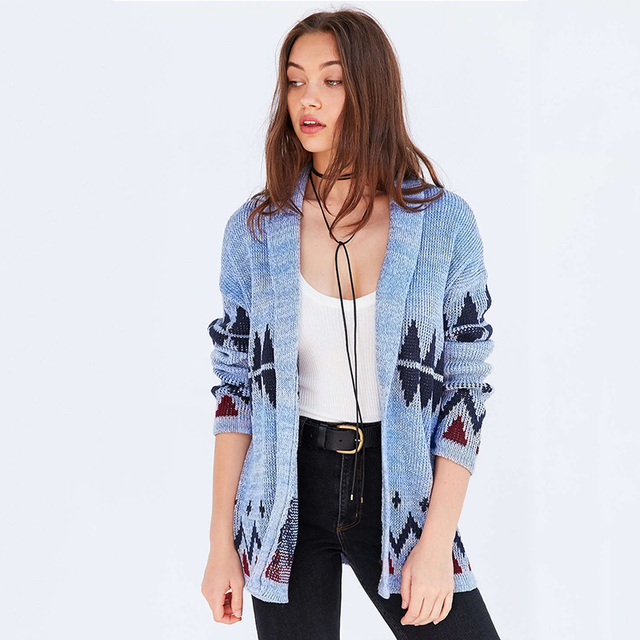 bdc57fe32c Blue geometric pattern cardigans for women loose oversized knitted sweaters  ladies stylish casual knit outwear coats