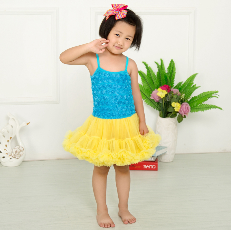 ≧Hot Sale Blue Yellow Baby Girls Dress Summer New Fashion Floral ...