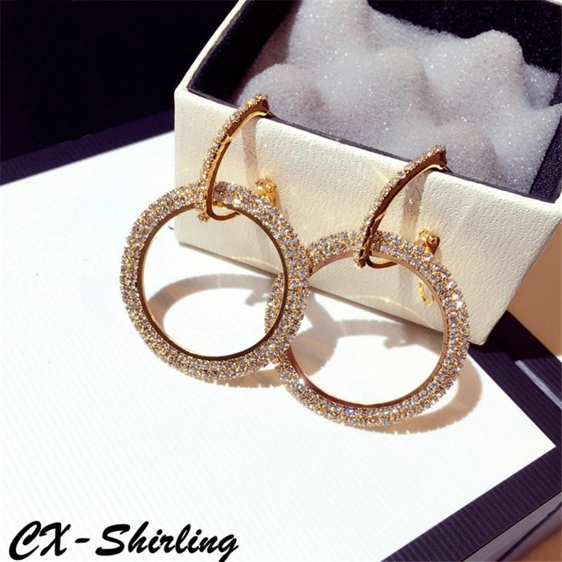 CX Shirling font b Luxurious b font Earrings Women Exaggerated Large Circle Rhinestone Big Dangle Earrings
