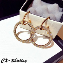 CX-Shirling Luxurious Earrings Women Exaggerated Large Circle Rhinestone Big Dangle Earrings Jewelry Female Gold&Silver