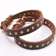 Crystal Rhinestones Genuine Leather Dog Collar Luxurious Pet Cat  Bling Puppy Choker Adjustable Collars