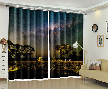 Night sky 3d Curtains For Living Room Window Treatments Modern Curtains For Beding Room living room High-precision Shade