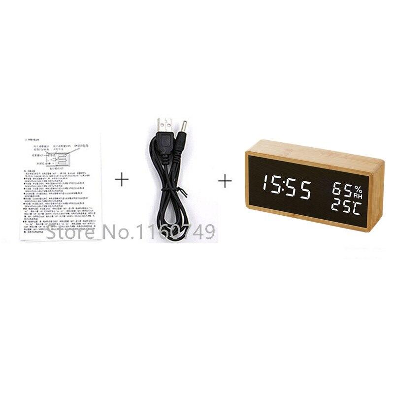 Купить с кэшбэком Modern Sound Control LED Alarm Clock Wooden Watch Despertador Temperature Humidity Electronic Desktop Digital Table Clocks