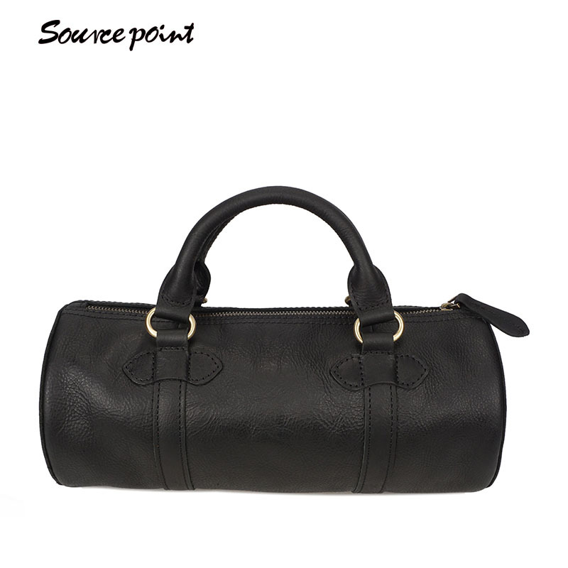 New Men's Casual Genuine Leather Real Cowhide Oil Wax Leather Barrel-shaped Shoulder Bag Messenger Bag Handbag Tote YD-8105# men oil wax genuine leather cowhide handbag single shoulder messenger crossbody bag real cowhide purse famous male tote handbags