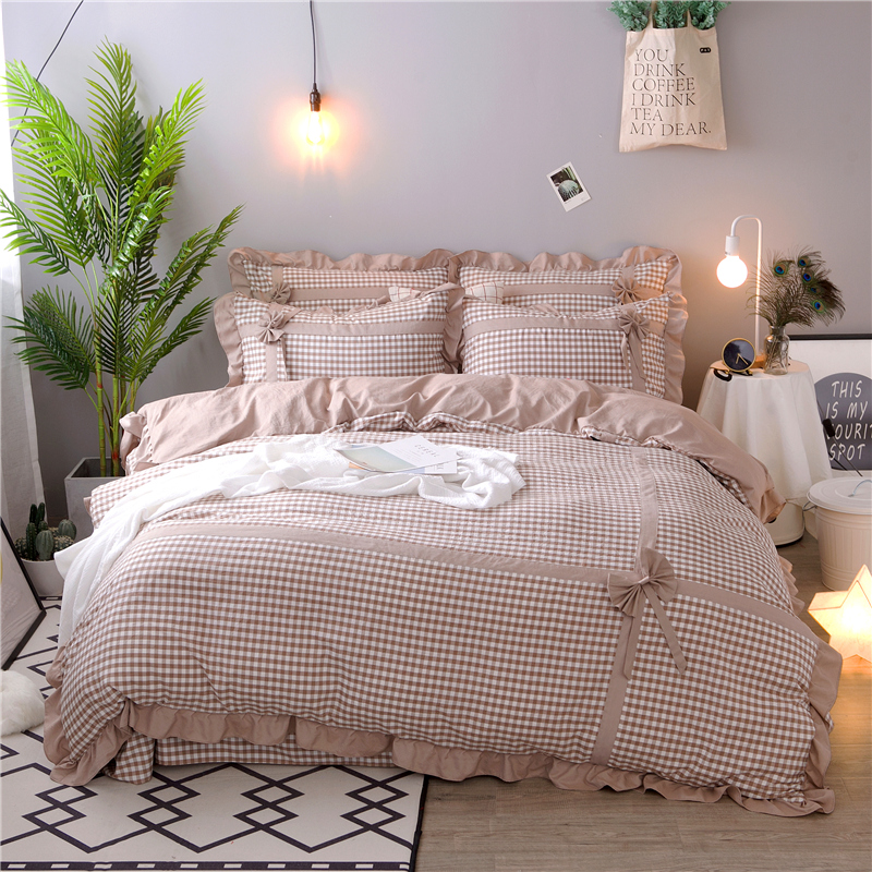 4pcs Yarn Dyed Washed Cotton Fashion lattice Bedding sets Bowknot Soft Duvet cover set Bed Sheet Pillowcases Queen King size4pcs Yarn Dyed Washed Cotton Fashion lattice Bedding sets Bowknot Soft Duvet cover set Bed Sheet Pillowcases Queen King size