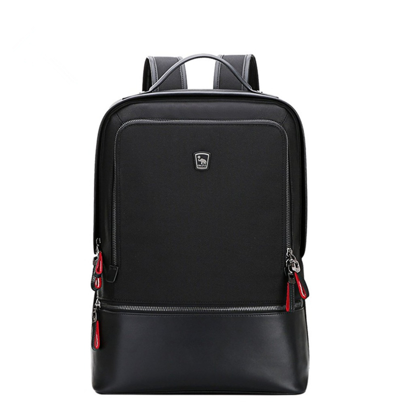 Oiwas Adjustable Men Women Nylon Backpack Casual Solid Color Business Bag Travel School Notebook Bag Black Best Gift