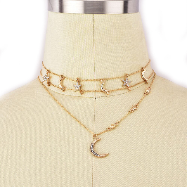 Simple Crystal Stars Moon Gold Multilayer Necklace