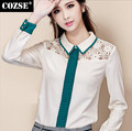2015 New Summer Casual Style Women Chiffon Shirt Lapel High Quality Lace Splice Blouses Hot Sale D3604