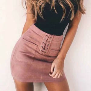 Suede Skirts Lace-Up-Pockets Bodycon Pink Yellow High-Waist Women Casual Tube