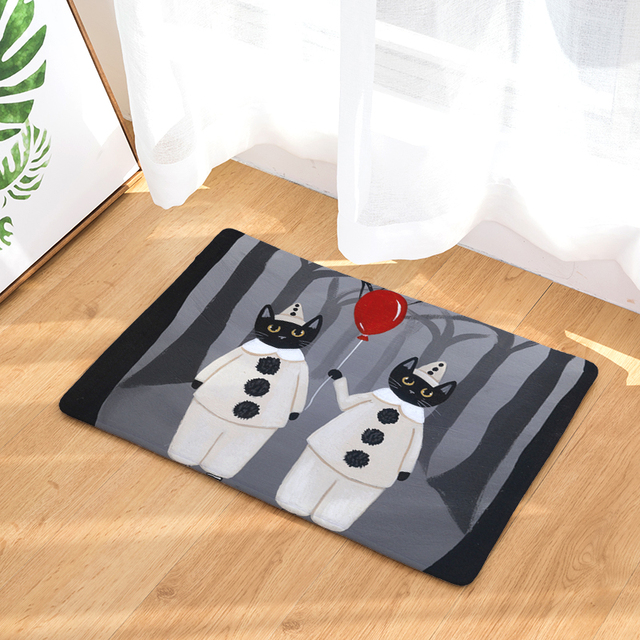 welcome floor mat halloween cat printing flannel entrance carpet 40x60cm 50x80cm kitchen rug bathroom non