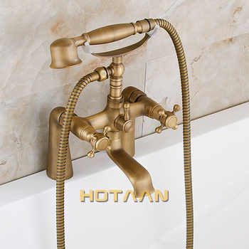 Free shipping Bathroom Bath Tub Faucet Hand Held Antique Brass Shower Head Kit Shower Faucet Sets YT-5347
