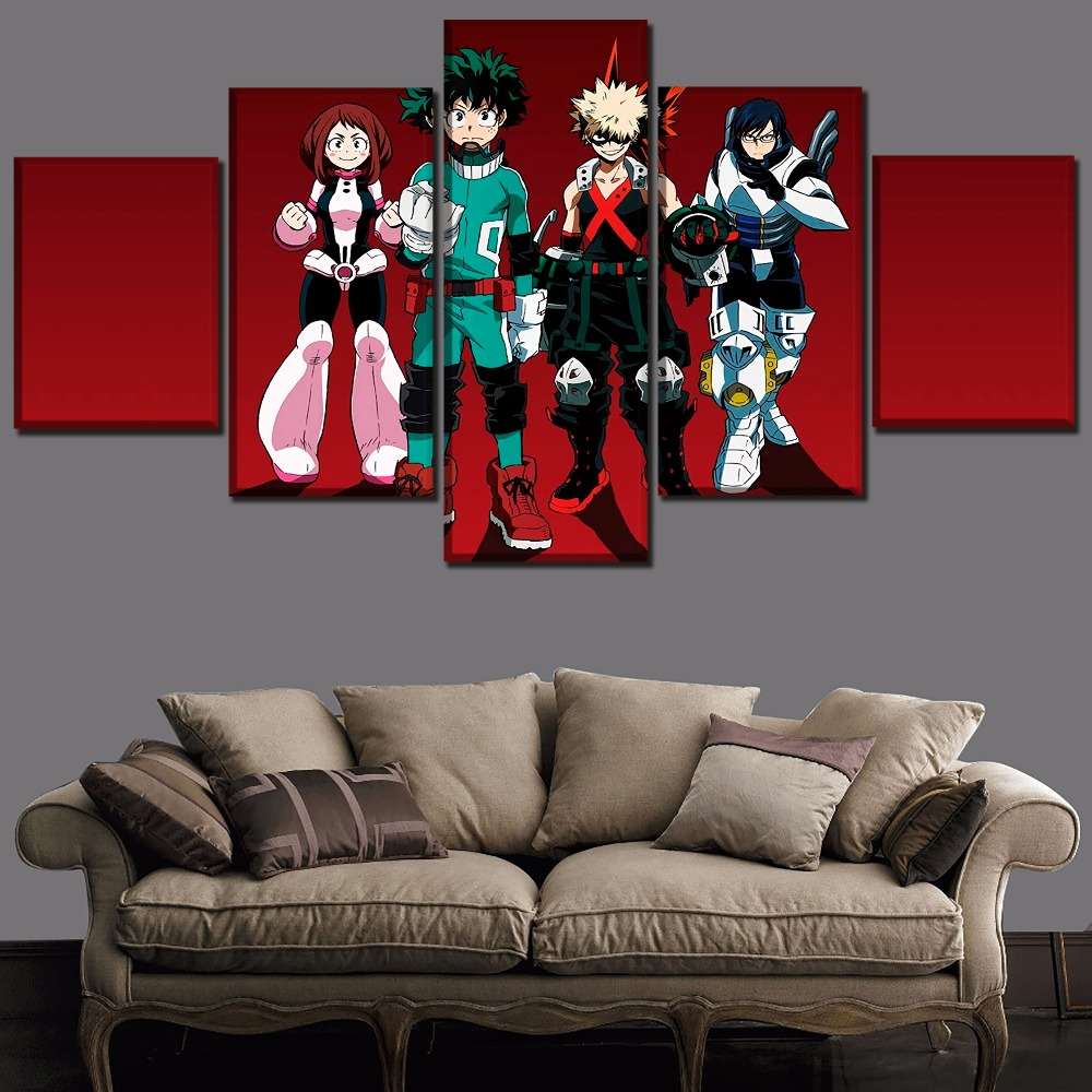 Wall Art Painting Decor Modular Framed Anime Poster 5 Piece My Hero Academia Role Picture Modern Artwork Top-Rated Canvas Prints