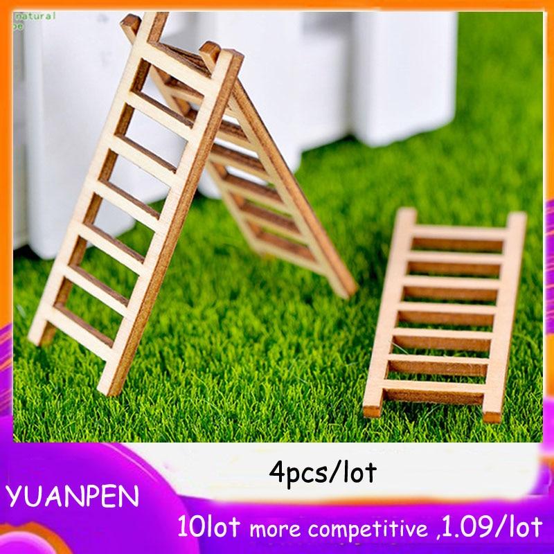 4pcs Wooden Ladder Stairs Corridor Fairy Garden Miniature