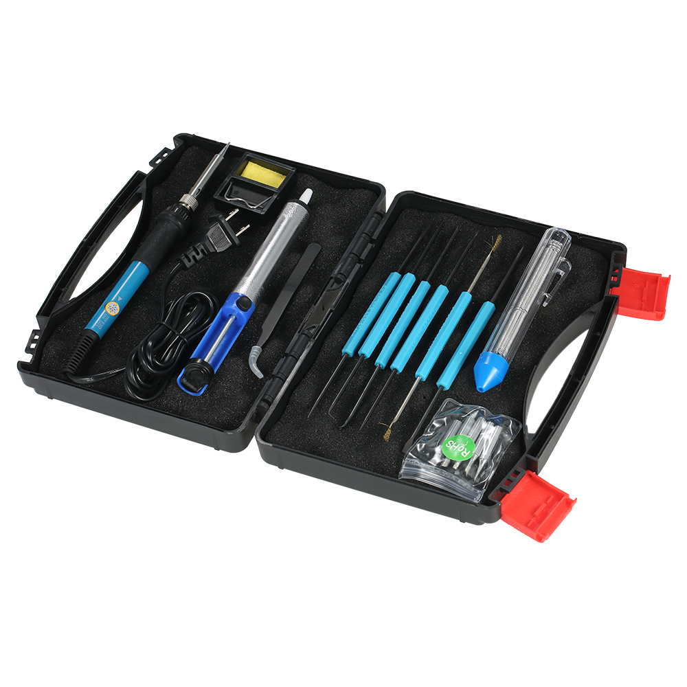 60W 110V Soldering Iron tool kit Soldering Tips+Desoldering Pump +Assist Tools +Anti-static Tweezers + Tin Wire Tube+ Iron Stand